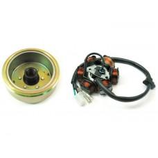 Магнето в сборе 152QMI/157QMJ 125/150cc 6 катушек (ротор+статор)