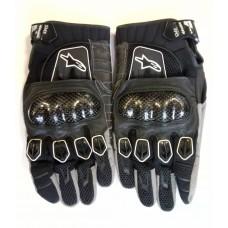 Перчатки Alpine Star черно-серые, карбоновые вставки.