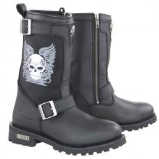 Мотоботы женские Tribal Skull Boots XELEMENT кожаные, черные