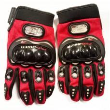 мотоперчатки с защитой текстильные, сетчатая ткань PRO-BIKER MCS-01B, красные