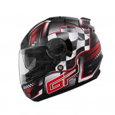Шлем интеграл THH TS-44 черно-красный, встроенный солнечный визор
