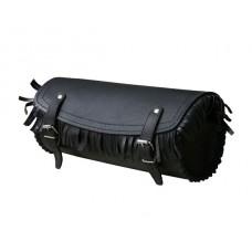 Сумка, батон на вилку кожаная, с бахромой, черная, ширина 25 см