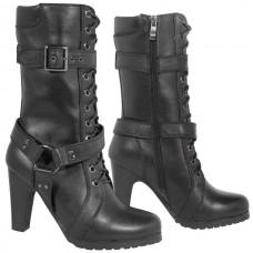 Мотоботы женские Fashion Buckle and Harness XELEMENT кожаные, черные