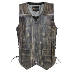 Жилет мужской, кожаный 10 Poсket Brown Distressed Xelement, с боковой шнуровкой