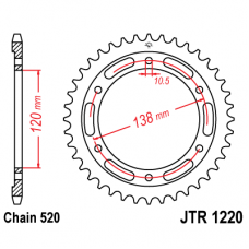 Звезда задняя JTR-1220.36 520