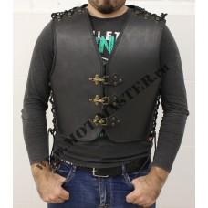 """Жилет мужской кожаный """"CLASSIC"""", с боковой шнуровкой, черный"""