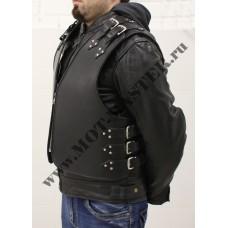 Жилет мужской кожаный, на молнии, черный, с боковыми ремнями