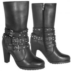 Мотоботы женские Fashion 3-Buckle XELEMENT кожаные, черные